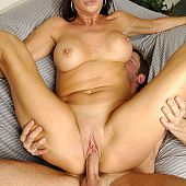 Older pornstar Vanessa Videl engulfing large cock and getting cookie fucked.